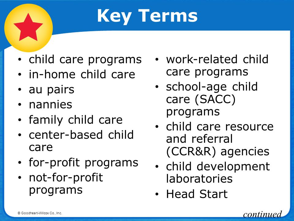 Key Terms child care programs in-home child care au pairs nannies