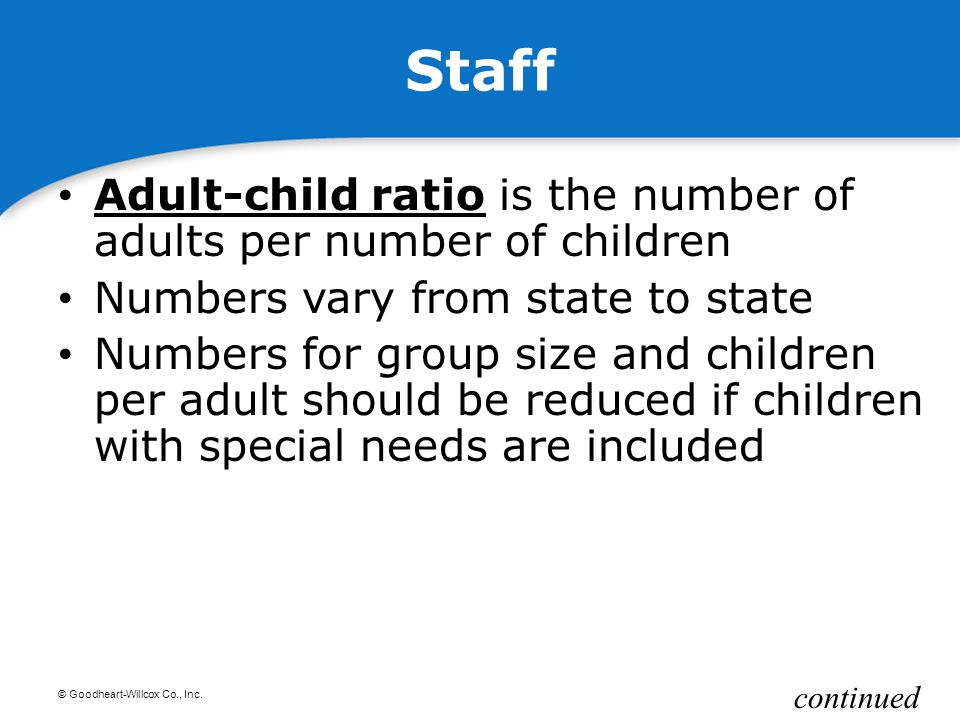 Staff Adult-child ratio is the number of adults per number of children