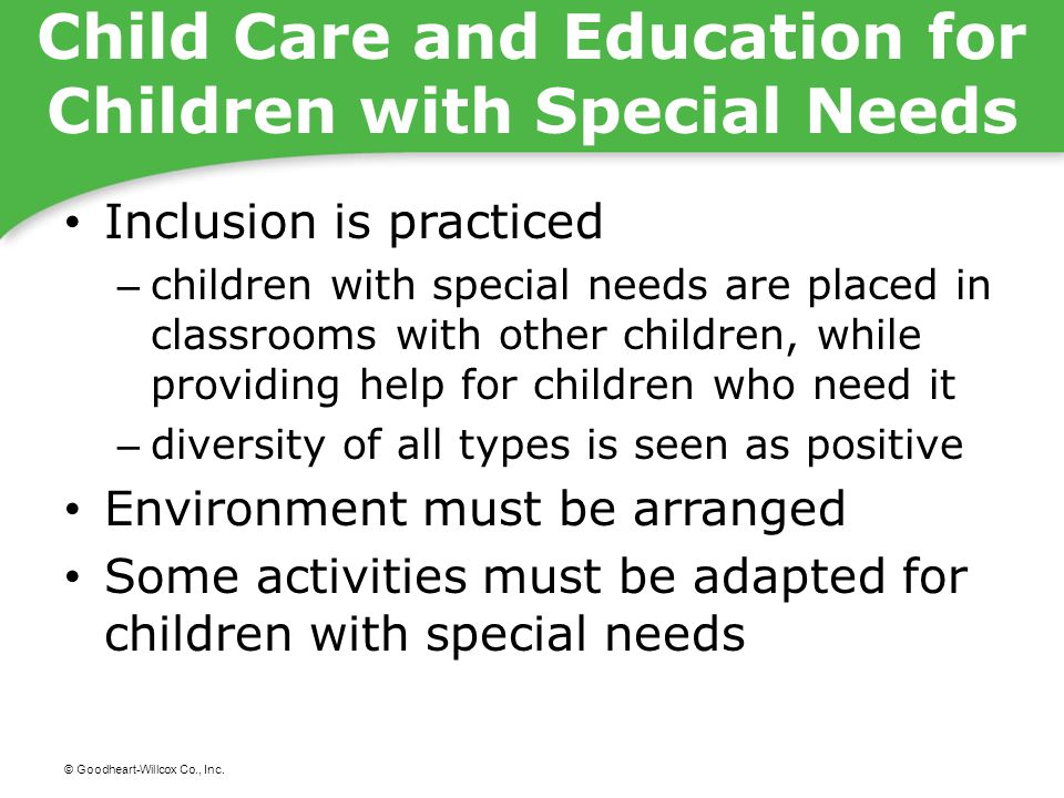 Child Care and Education for Children with Special Needs