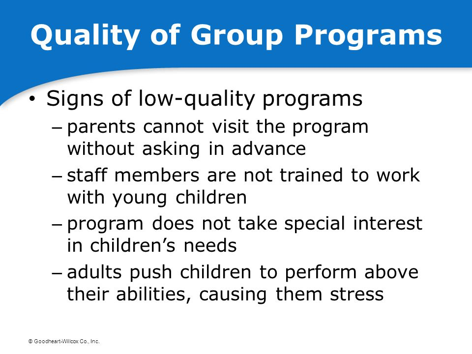 Quality of Group Programs