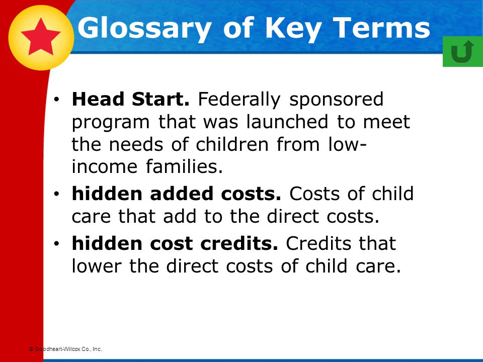 Glossary of Key Terms Head Start. Federally sponsored program that was launched to meet the needs of children from low-income families.