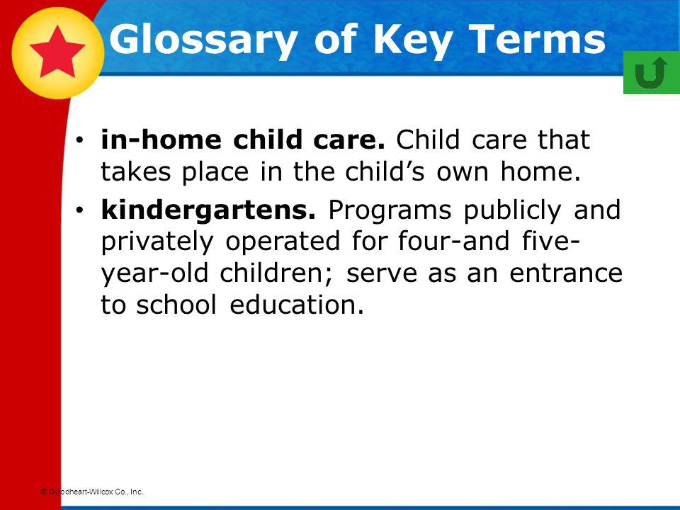 Glossary of Key Terms in-home child care. Child care that takes place in the child's own home.