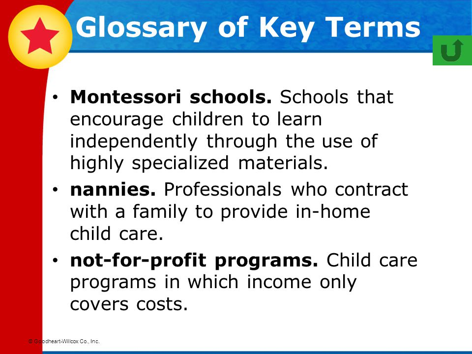 Glossary of Key Terms Montessori schools. Schools that encourage children to learn independently through the use of highly specialized materials.