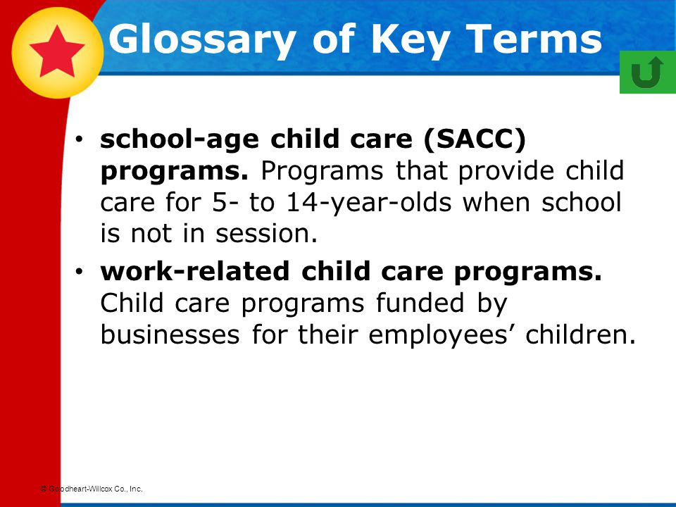 Glossary of Key Terms school-age child care (SACC) programs. Programs that provide child care for 5- to 14-year-olds when school is not in session.