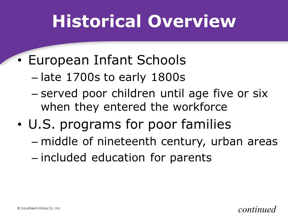 Historical Overview European Infant Schools