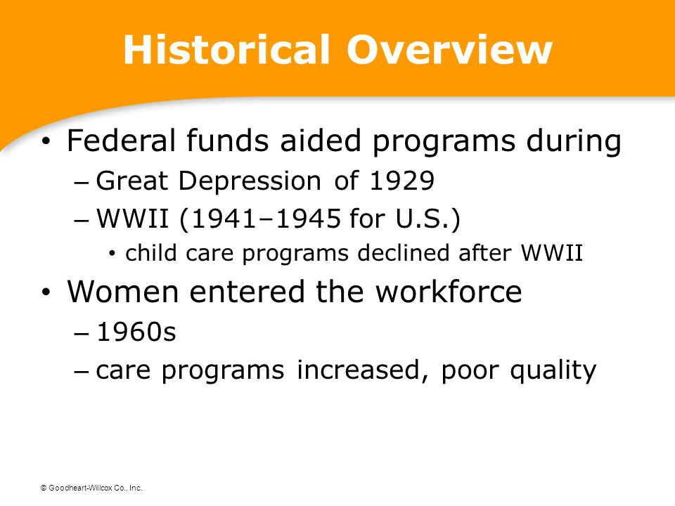 Historical Overview Federal funds aided programs during