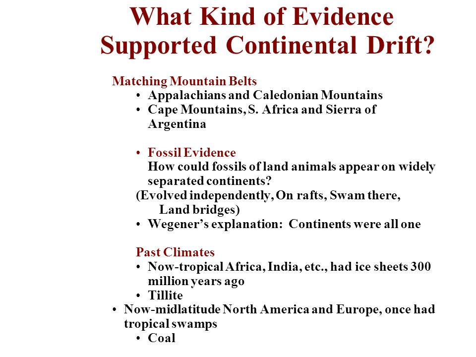 What Kind of Evidence Supported Continental Drift