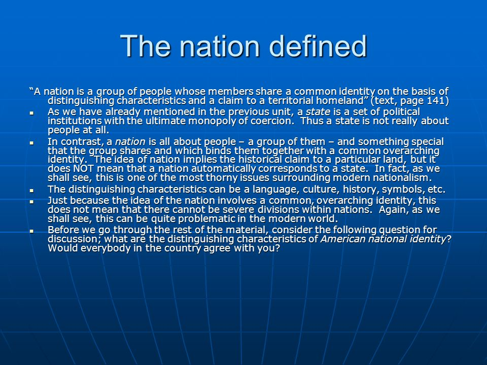 The nation defined