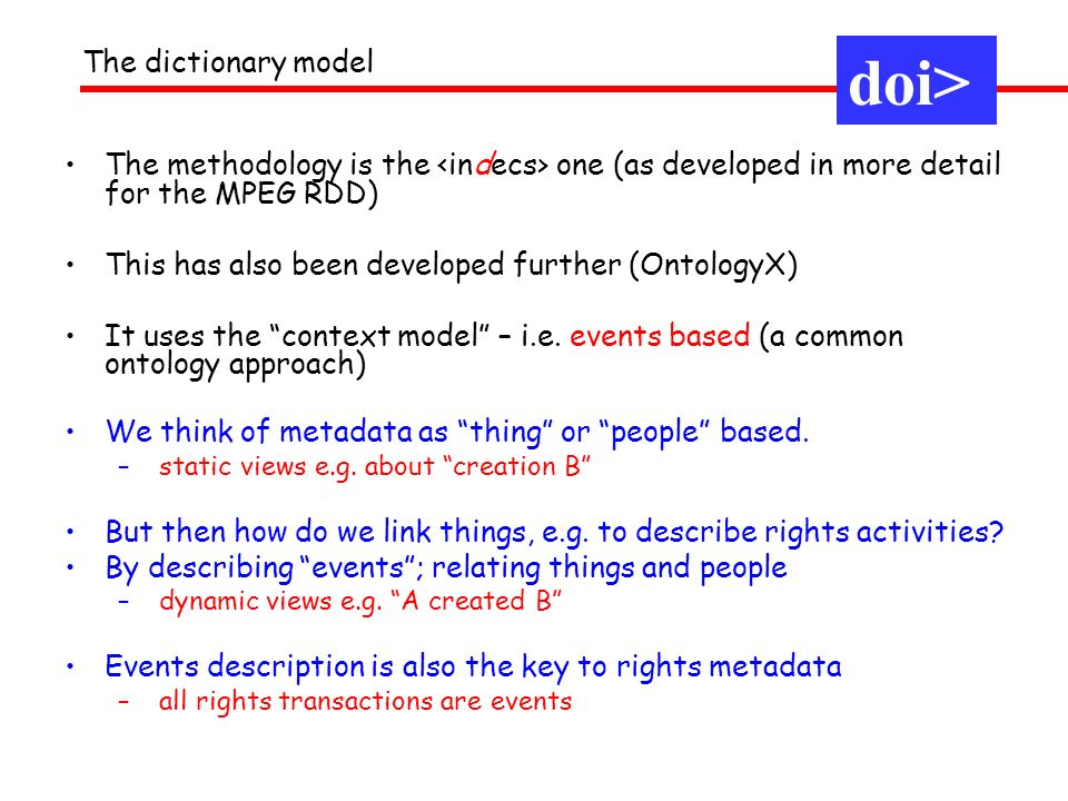doi> The dictionary model
