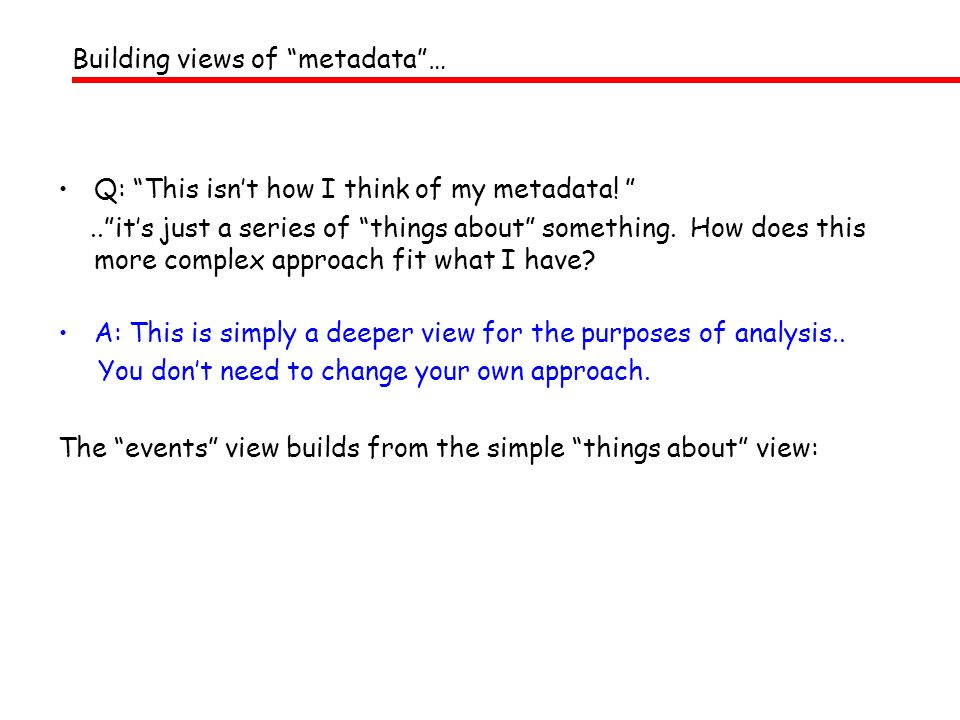 Building views of metadata …