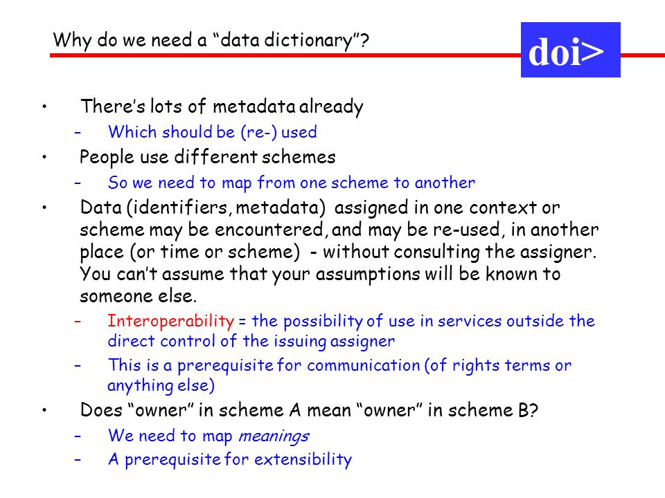 doi> Why do we need a data dictionary