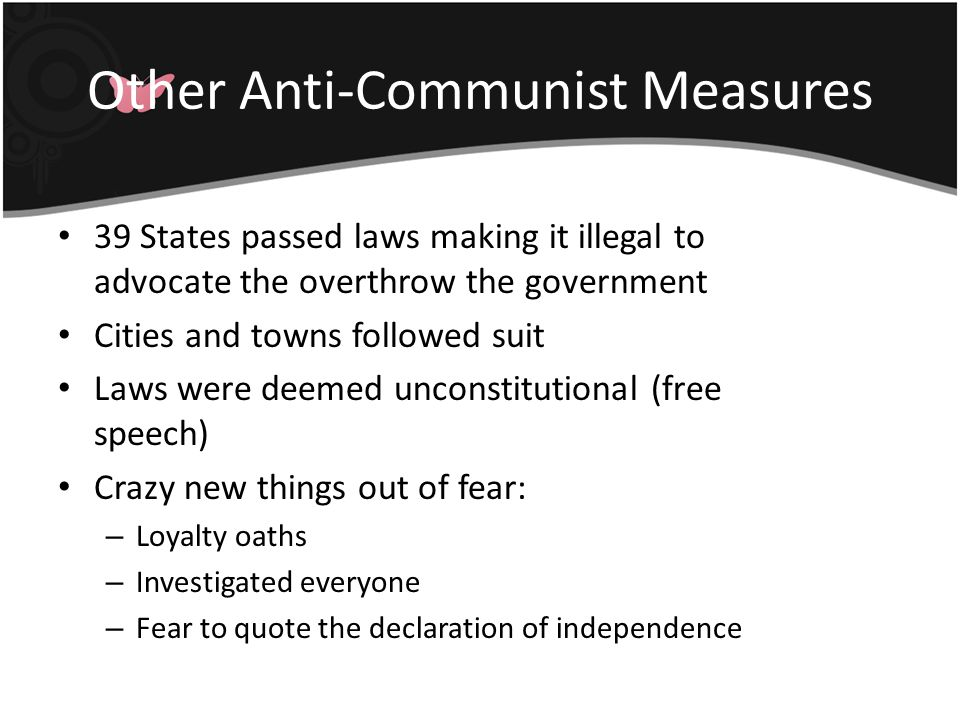 Other Anti-Communist Measures