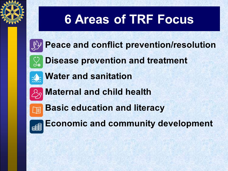 6 Areas of TRF Focus Peace and conflict prevention/resolution