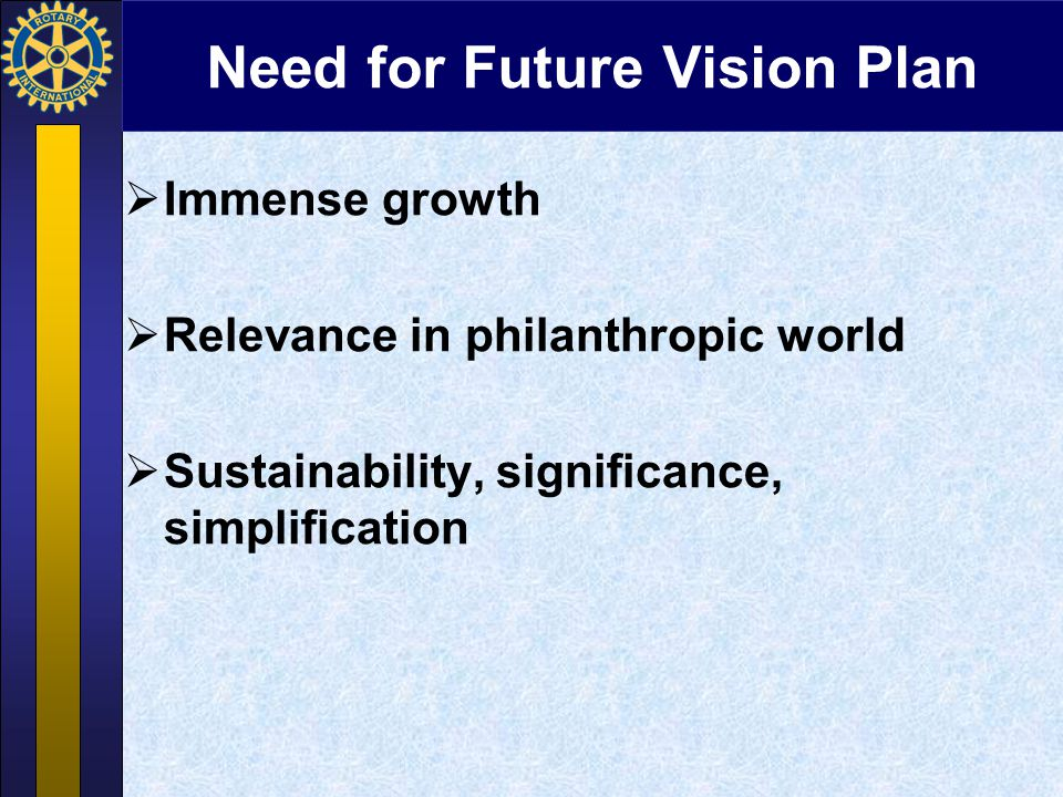Need for Future Vision Plan