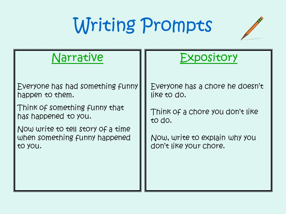 Writing Prompts Narrative Expository