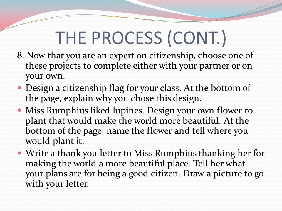 THE PROCESS (CONT.) 8. Now that you are an expert on citizenship, choose one of these projects to complete either with your partner or on your own.