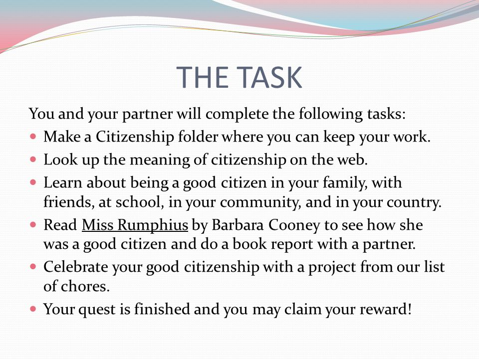 THE TASK You and your partner will complete the following tasks: