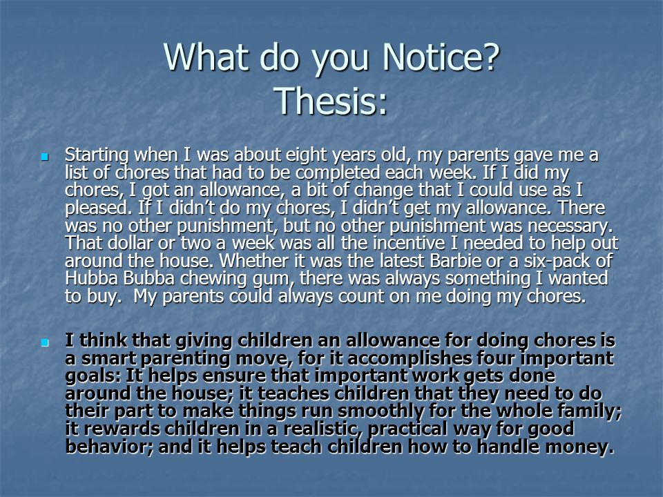 What do you Notice Thesis: