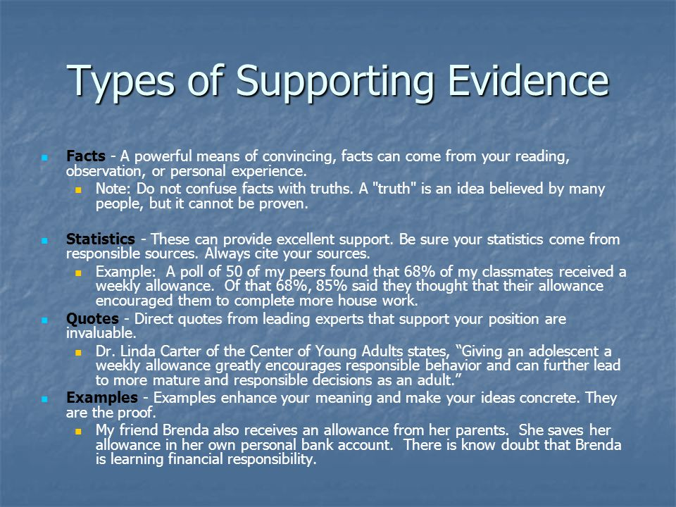 Types of Supporting Evidence