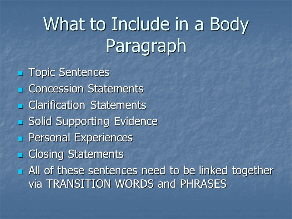 What to Include in a Body Paragraph