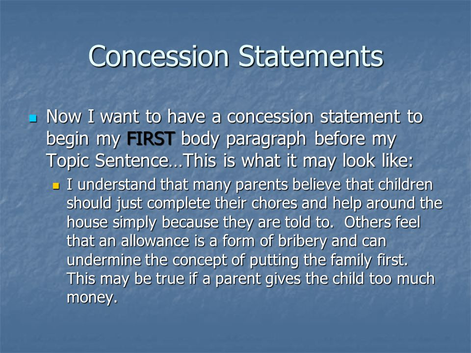 Concession Statements