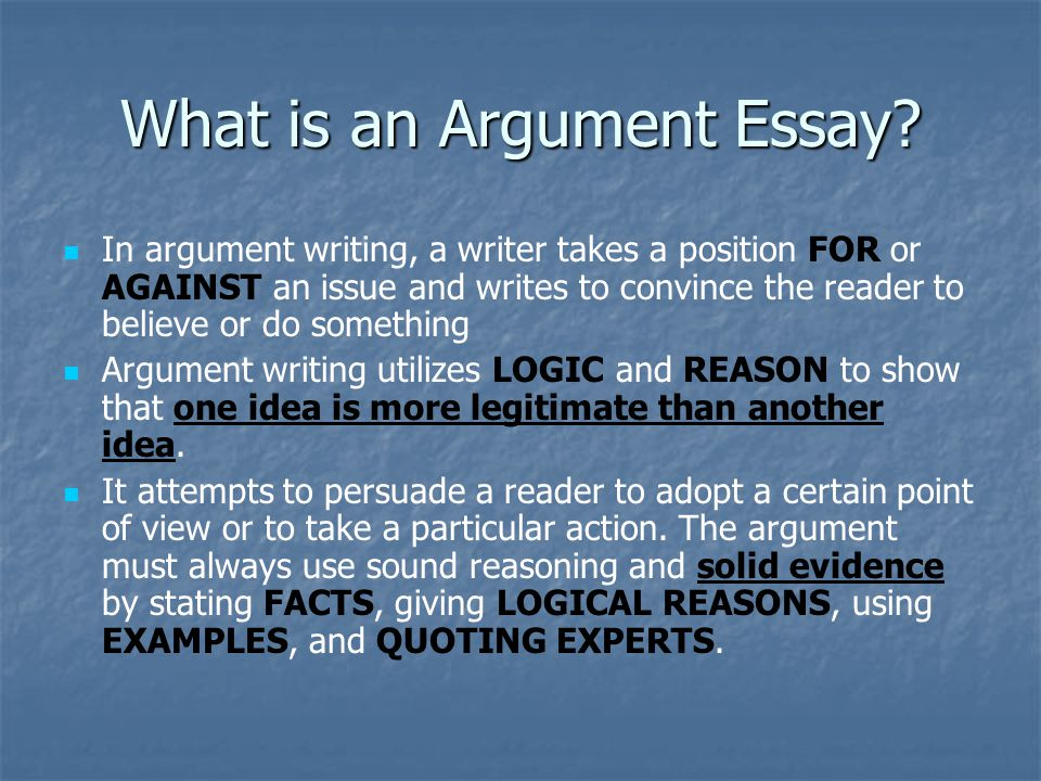 arguments essay writing