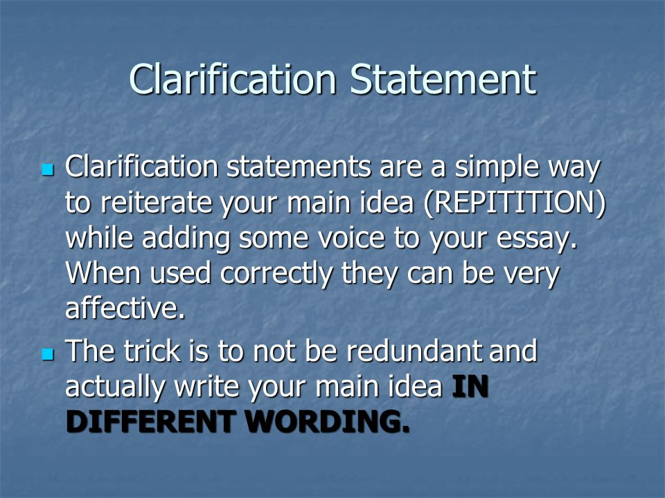 Clarification Statement