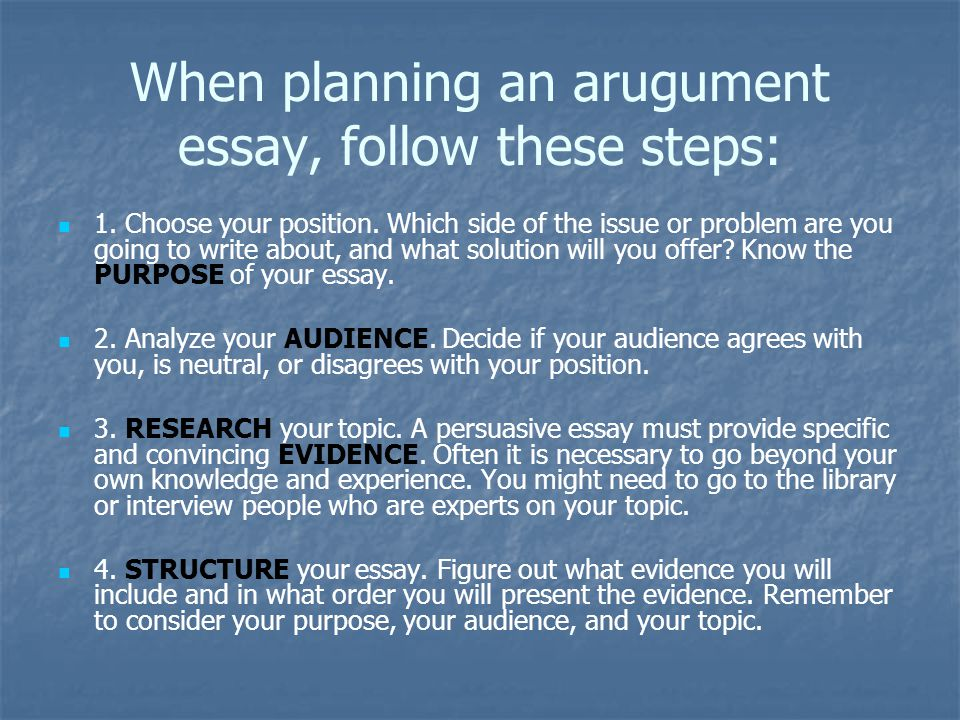 When planning an arugument essay, follow these steps: