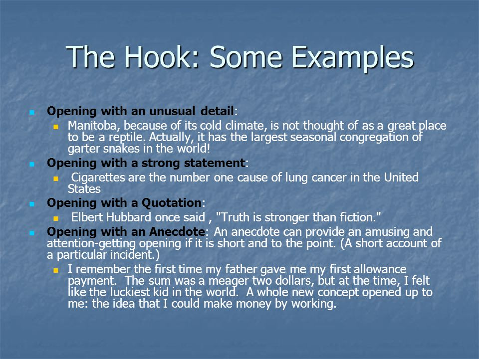 The Hook: Some Examples