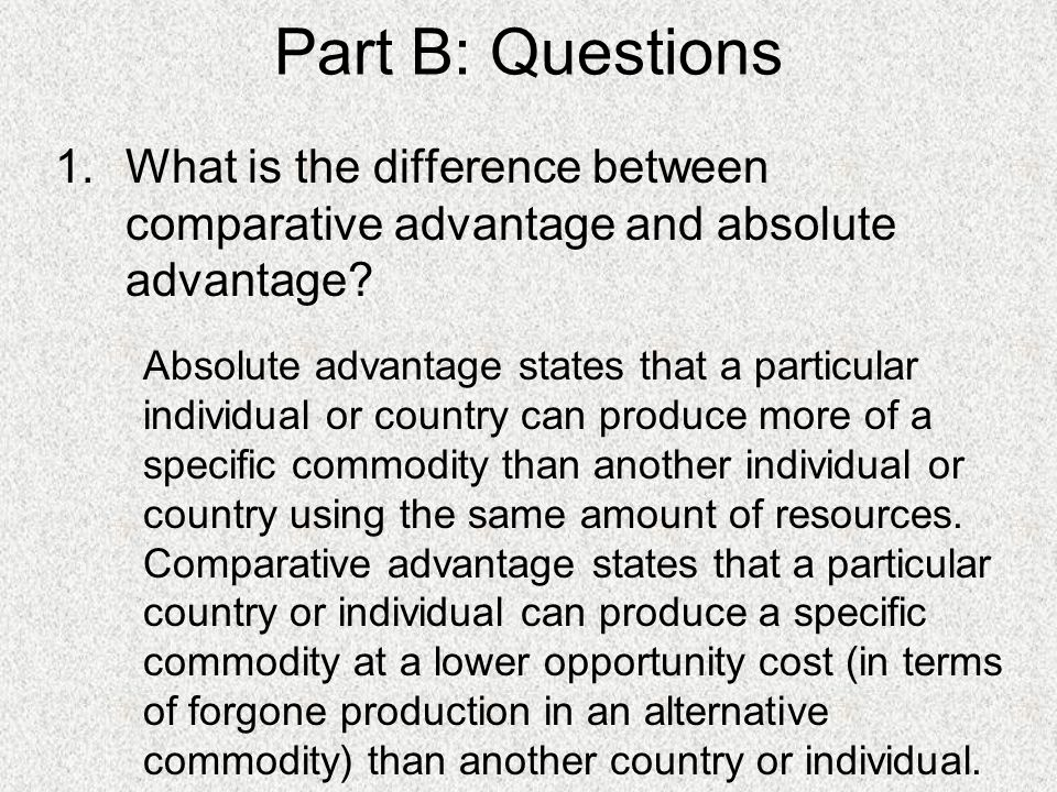 explain the concepts of comparative and absolute advantage Absolute and comparative advantage are two important economic terms that   the absolute vs comparative advantage write-up below will further try to explain   this concept or term is believed to have been coined by adam smith in 1776.