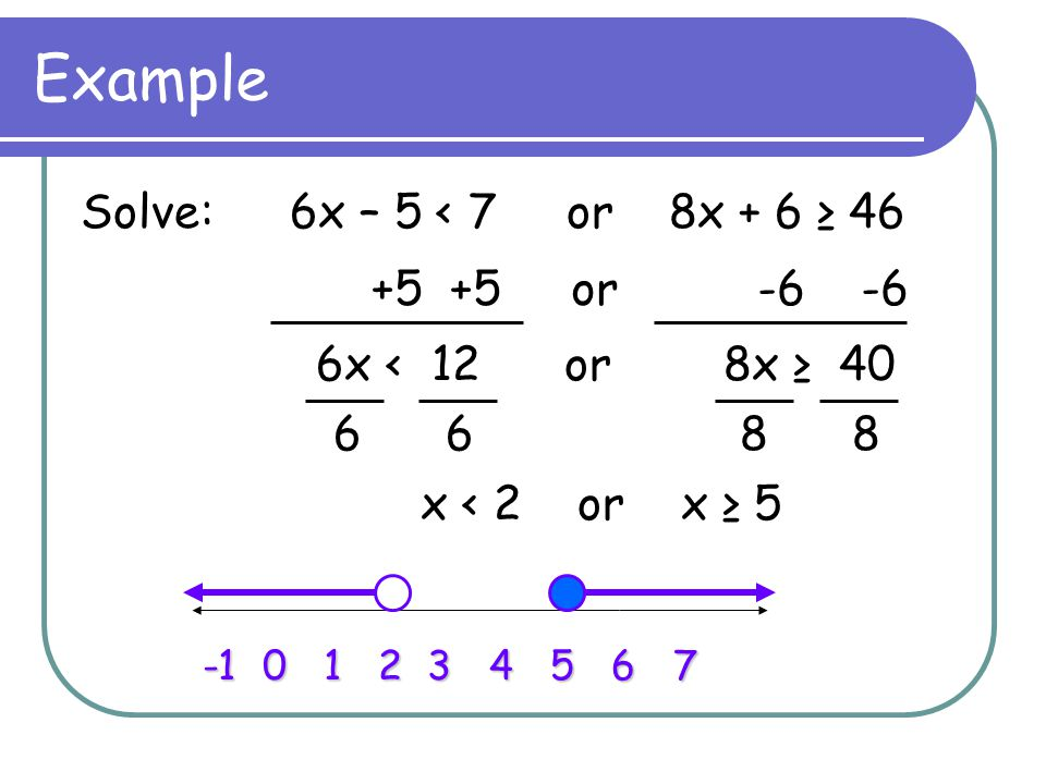 Example Solve: 6x – 5 < 7 or 8x + 6 ≥ 46 +5 +5 or -6 -6