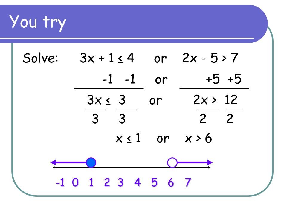 You try Solve: 3x + 1 ≤ 4 or 2x - 5 > 7 -1 -1 or +5 +5