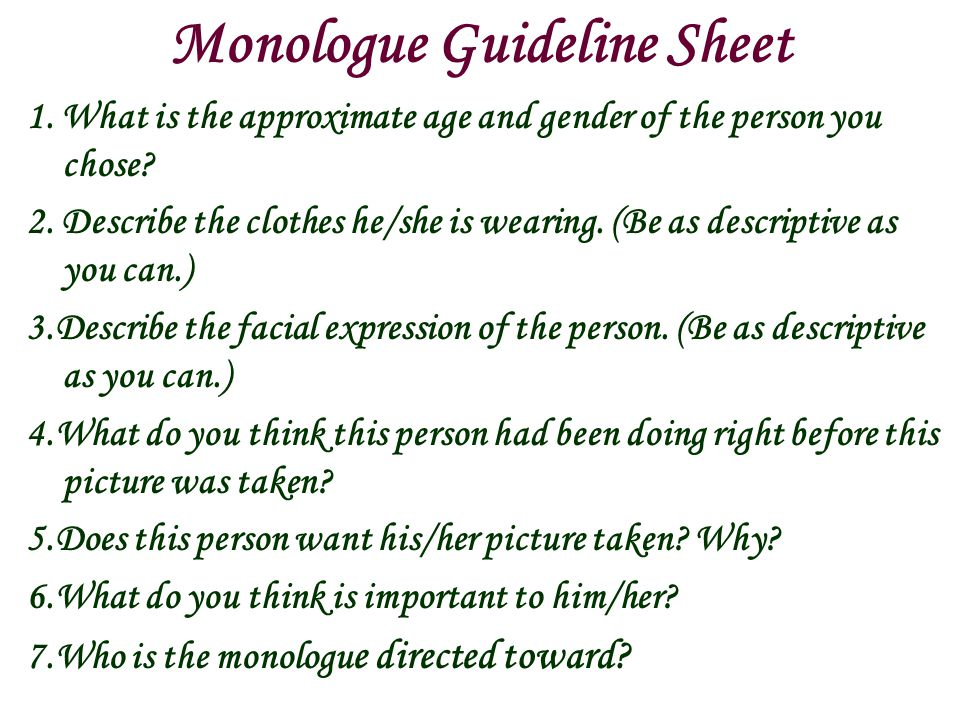 Monologue Guideline Sheet