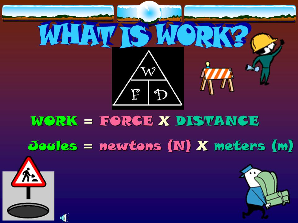 WHAT IS WORK WORK = FORCE X DISTANCE