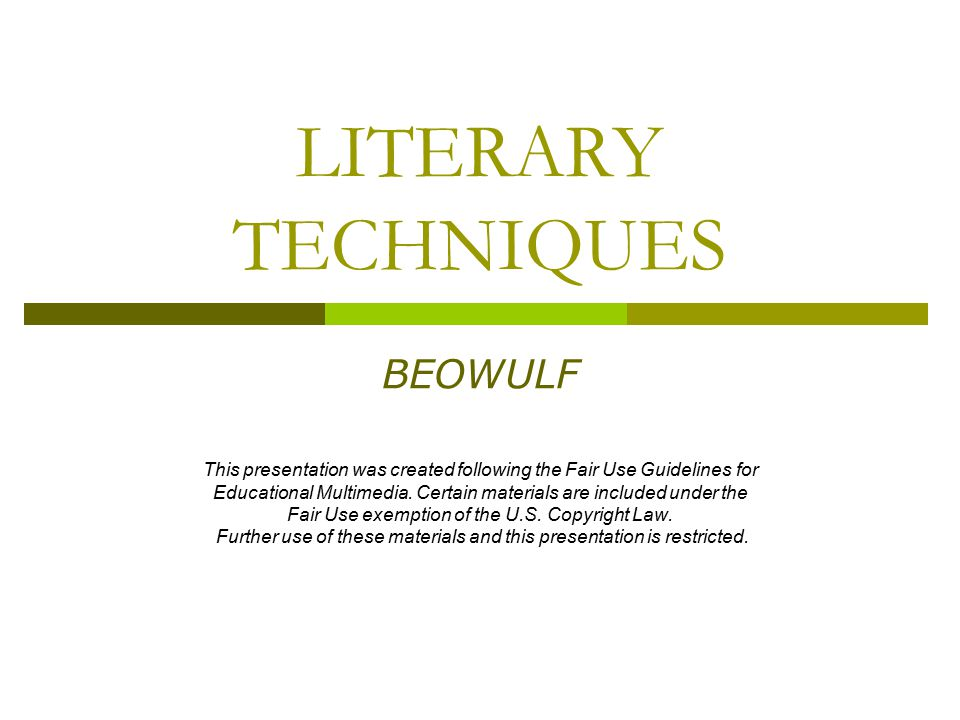 LITERARY TECHNIQUES BEOWULF