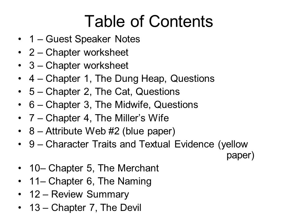 Table of Contents 1 – Guest Speaker Notes 2 – Chapter worksheet