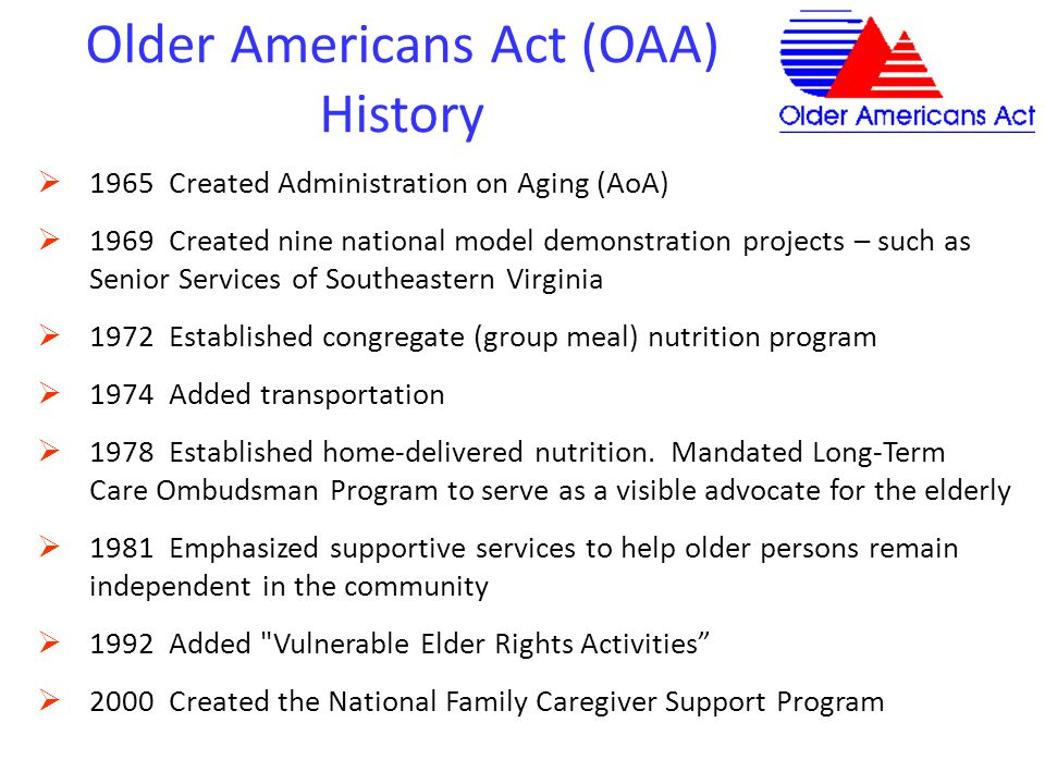 Older Americans Act (OAA) History