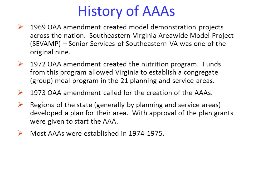 History of AAAs 4/14/2017.