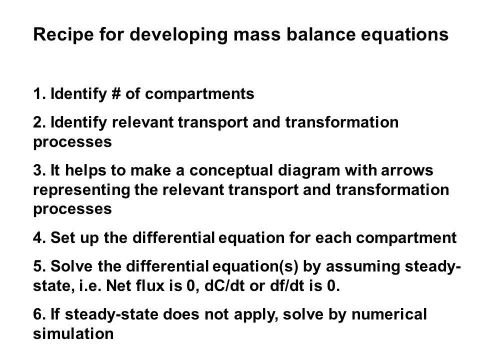 Recipe for developing mass balance equations