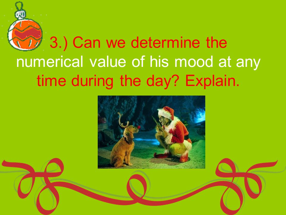 3.) Can we determine the numerical value of his mood at any time during the day Explain.