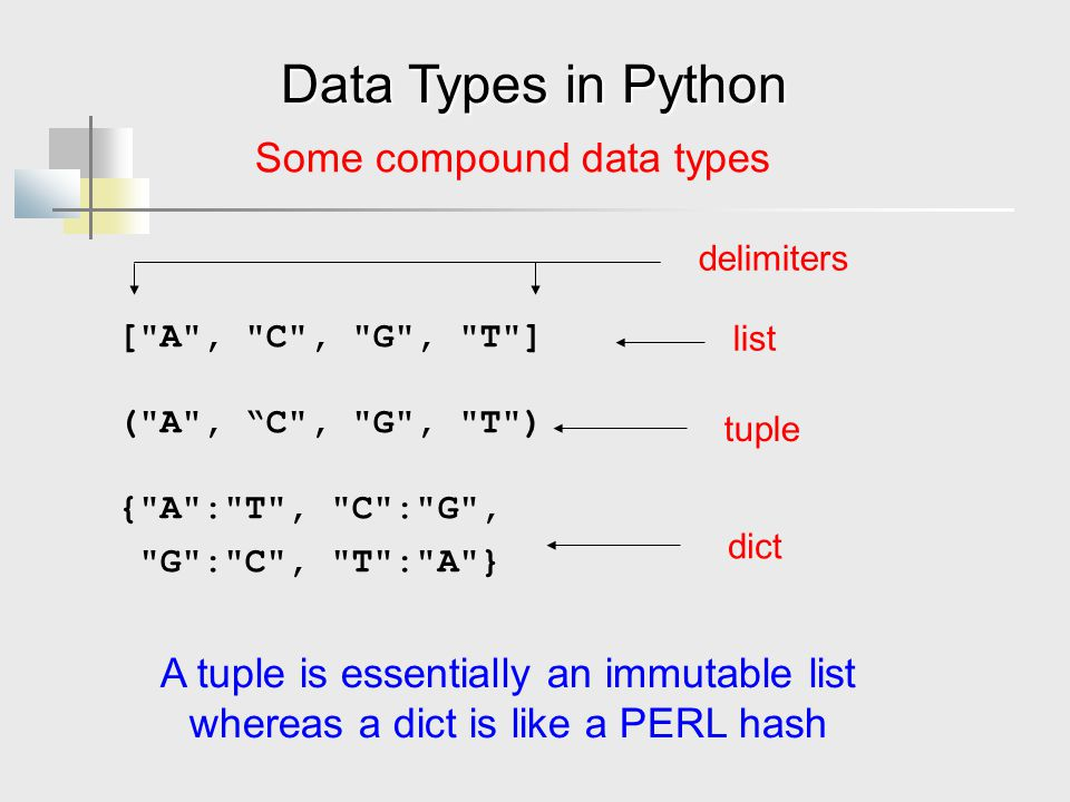 Data Types in Python Some compound data types