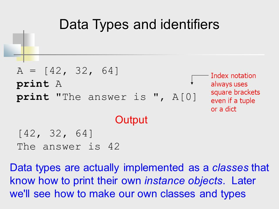 Data Types and identifiers