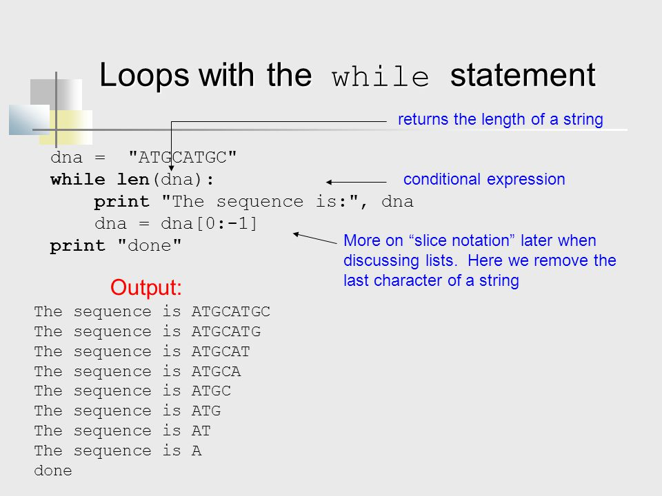 Loops with the while statement