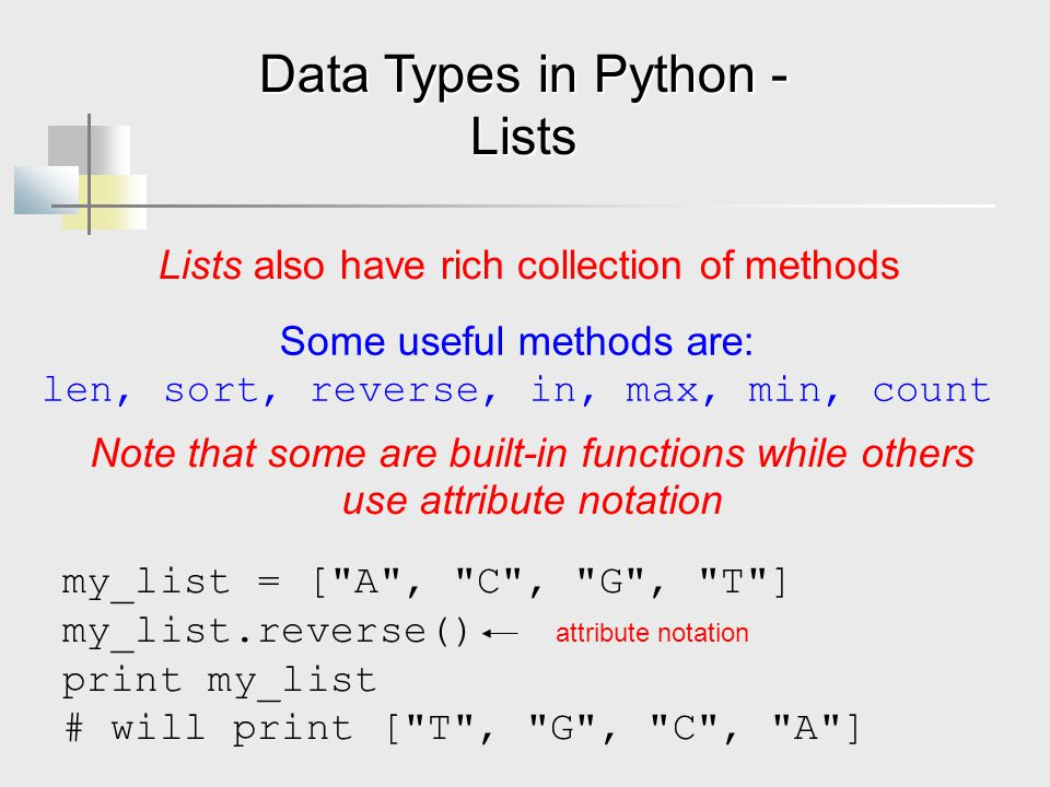 Data Types in Python - Lists