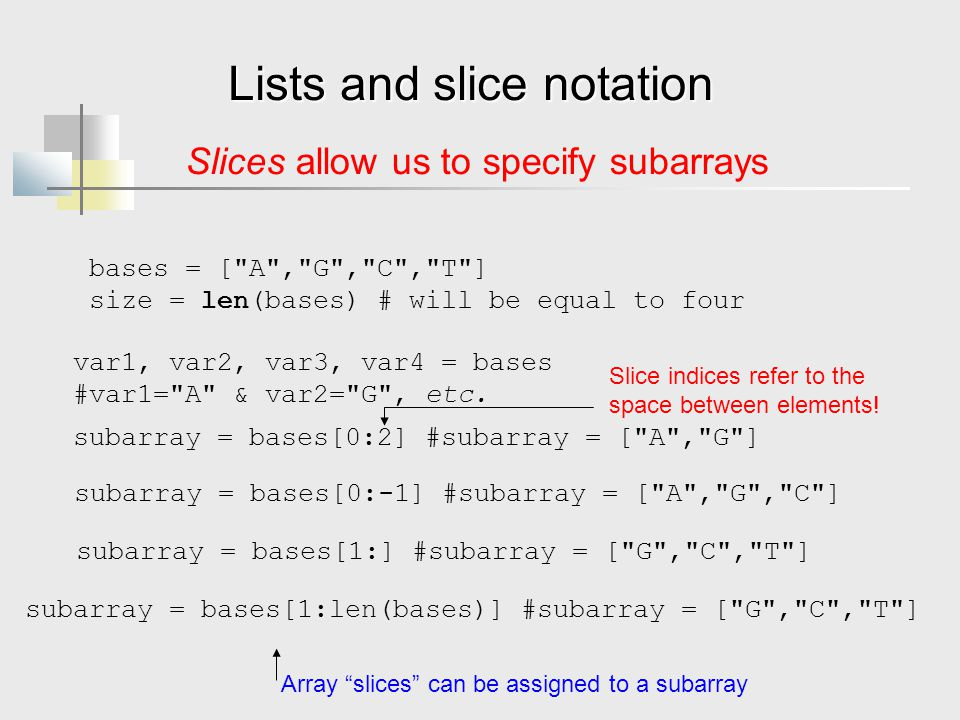 Lists and slice notation