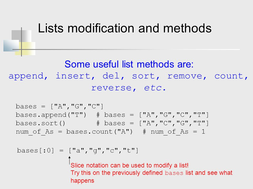 Lists modification and methods