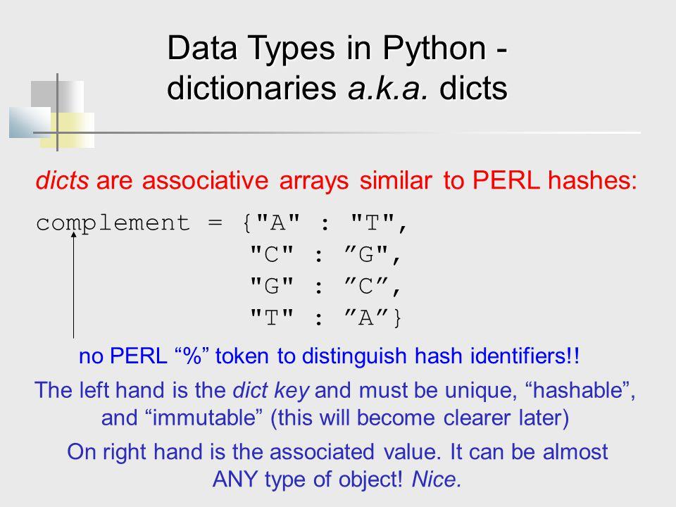 dictionaries a.k.a. dicts