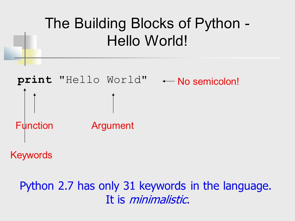 The Building Blocks of Python - Hello World!