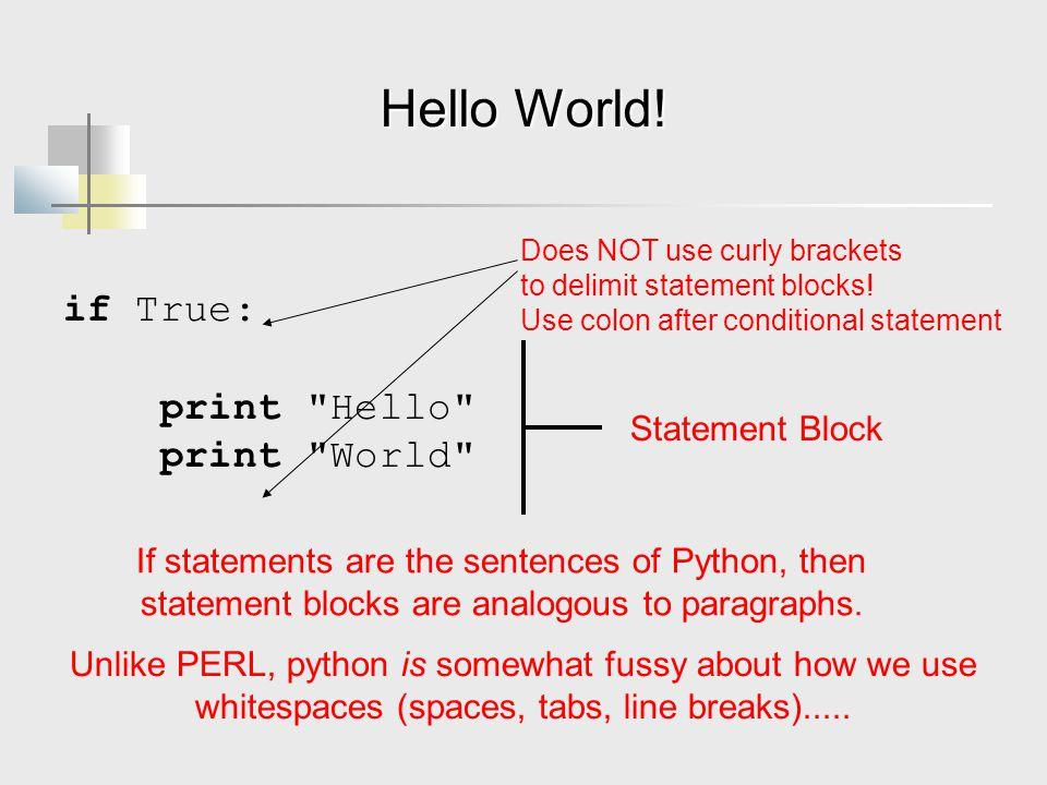 Hello World! if True: print Hello print World Statement Block