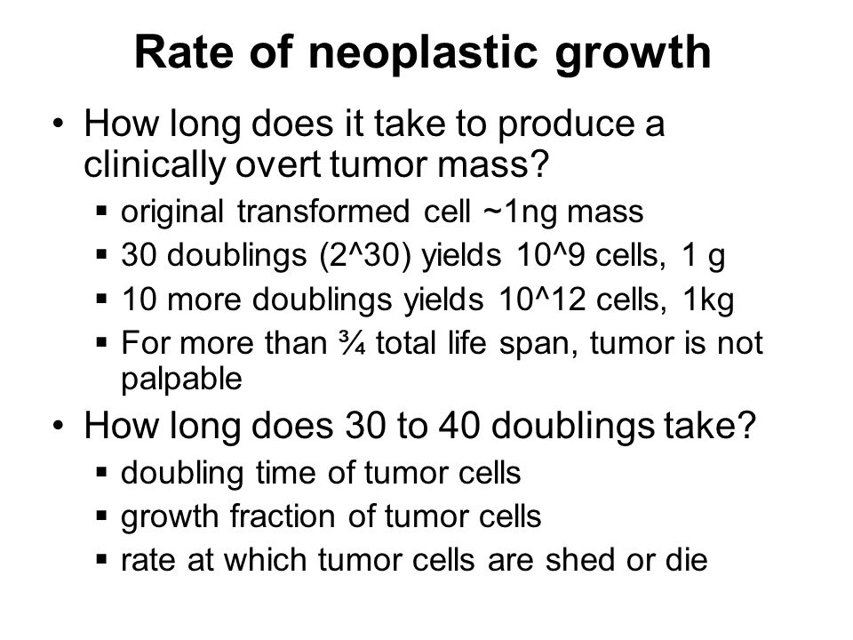 Rate of neoplastic growth